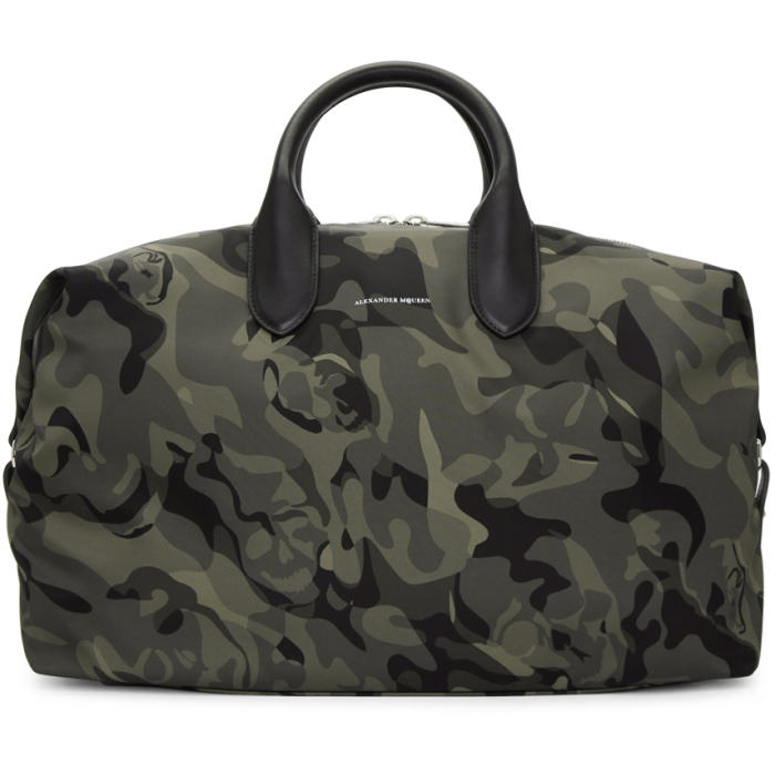 Photo: Alexander McQueen Green and Black Medium Holdall Camouflage Bag