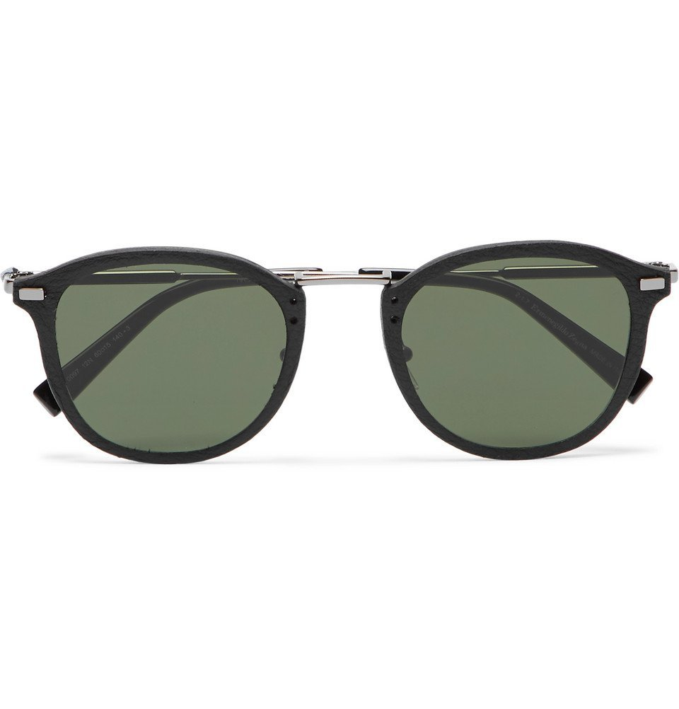 Photo: Ermenegildo Zegna - Round-Frame Leather-Trimmed Acetate and Gunmetal-Tone Sunglasses - Black