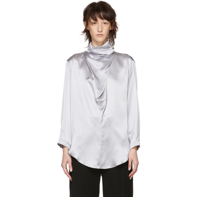 Nina Ricci Grey Silk Satin Turtleneck