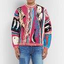 KAPITAL - Distressed Intarsia Cotton Sweater - Men - Multi