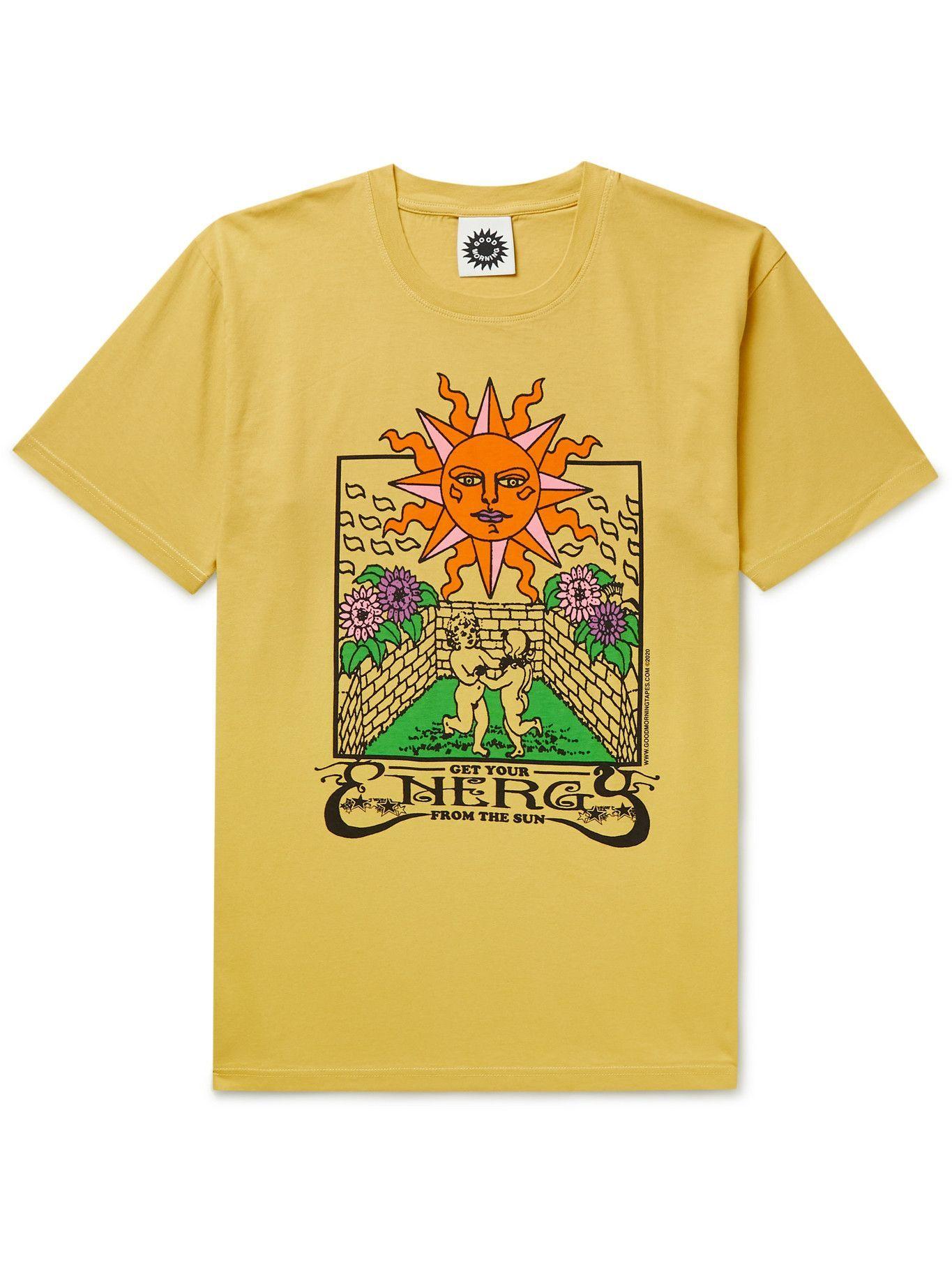 Photo: GOOD MORNING TAPES - Printed Organic Cotton-Jersey T-shirt - Yellow