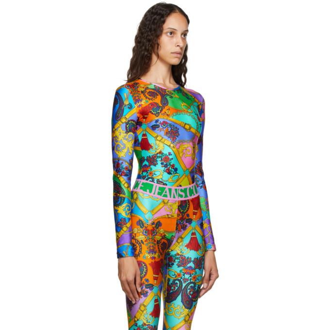 Versace Jeans Couture Multicolor Belts Print Bodysuit