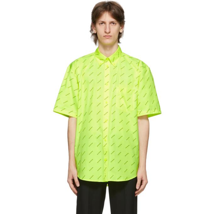 Photo: Balenciaga Yellow All Over Logo Short Sleeve Shirt