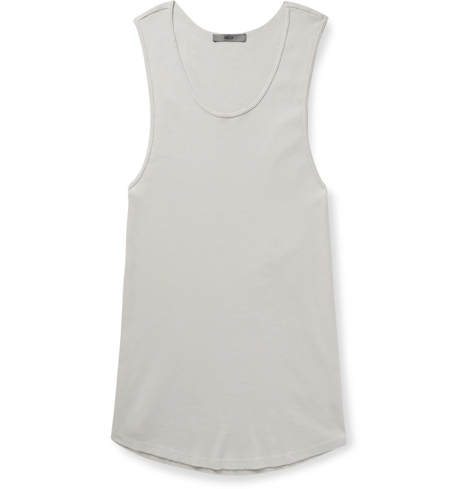 Photo: BILLY - Colton Slim-Fit Ribbed Cotton Tank Top - Gray