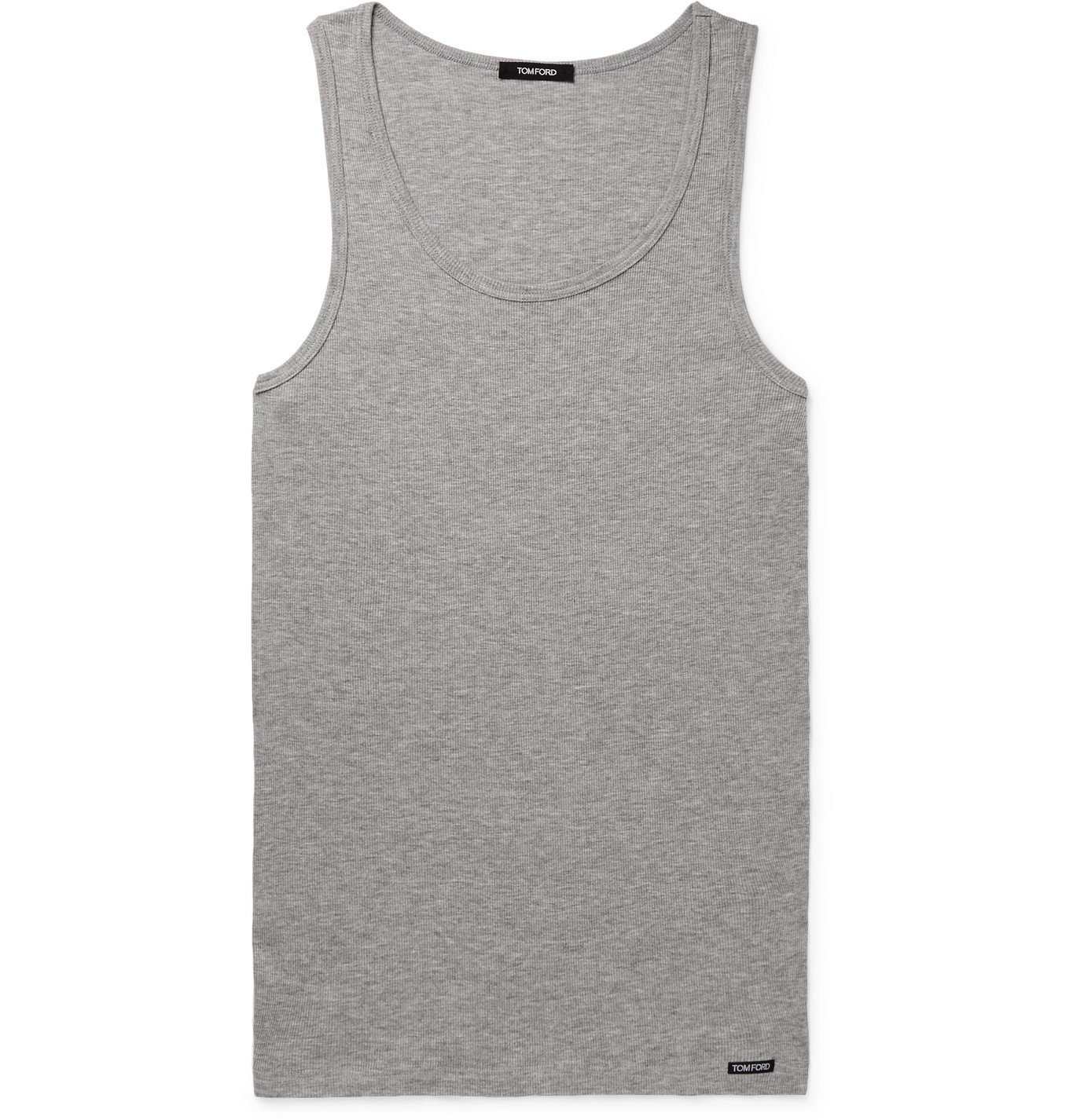 Photo: TOM FORD - Ribbed Cotton and Modal-Blend Jersey Tank Top - Gray