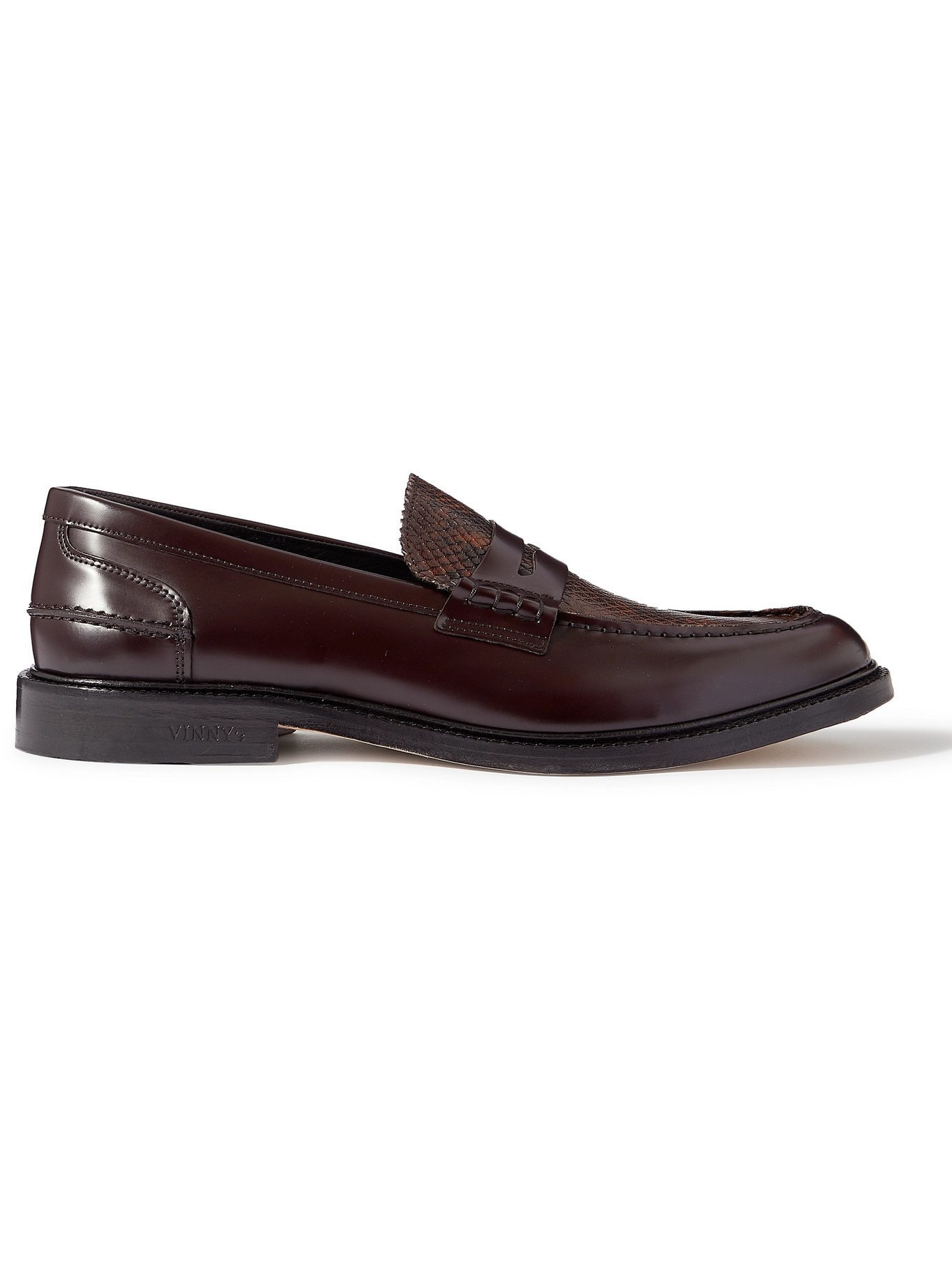 Photo: VINNY'S - Townee Panelled Snake-Effect Leather Penny Loafers - Brown - EU 41