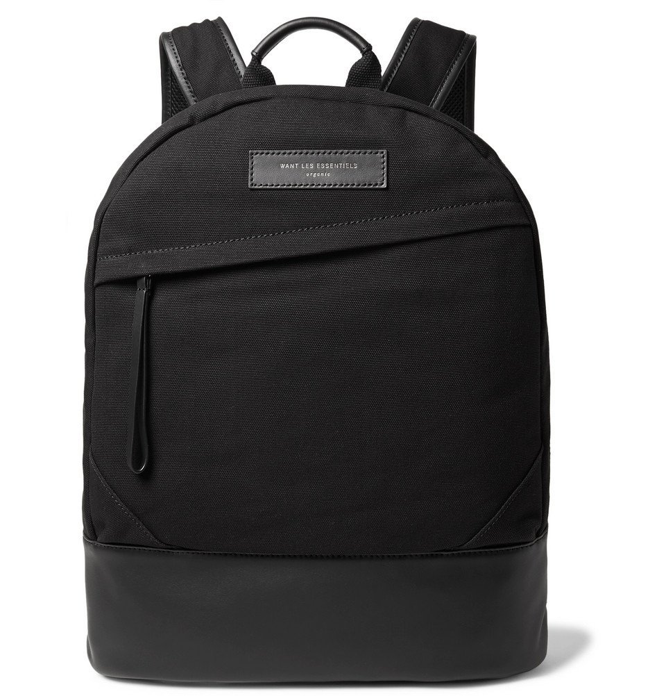 Photo: WANT LES ESSENTIELS - Kastrup Leather-Trimmed Organic Cotton-Canvas Backpack - Black