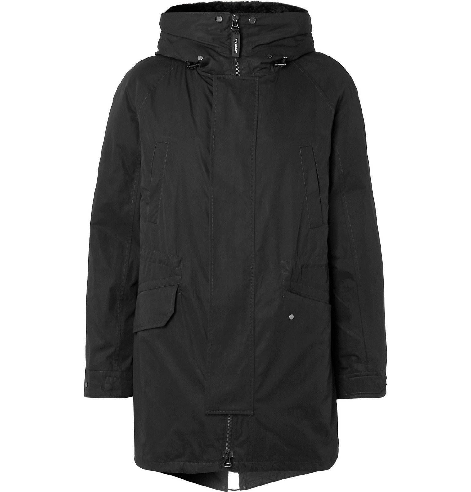 Photo: Yves Salomon - Faux Shearling-Lined Cotton-Blend Hooded Fishtail Parka - Black
