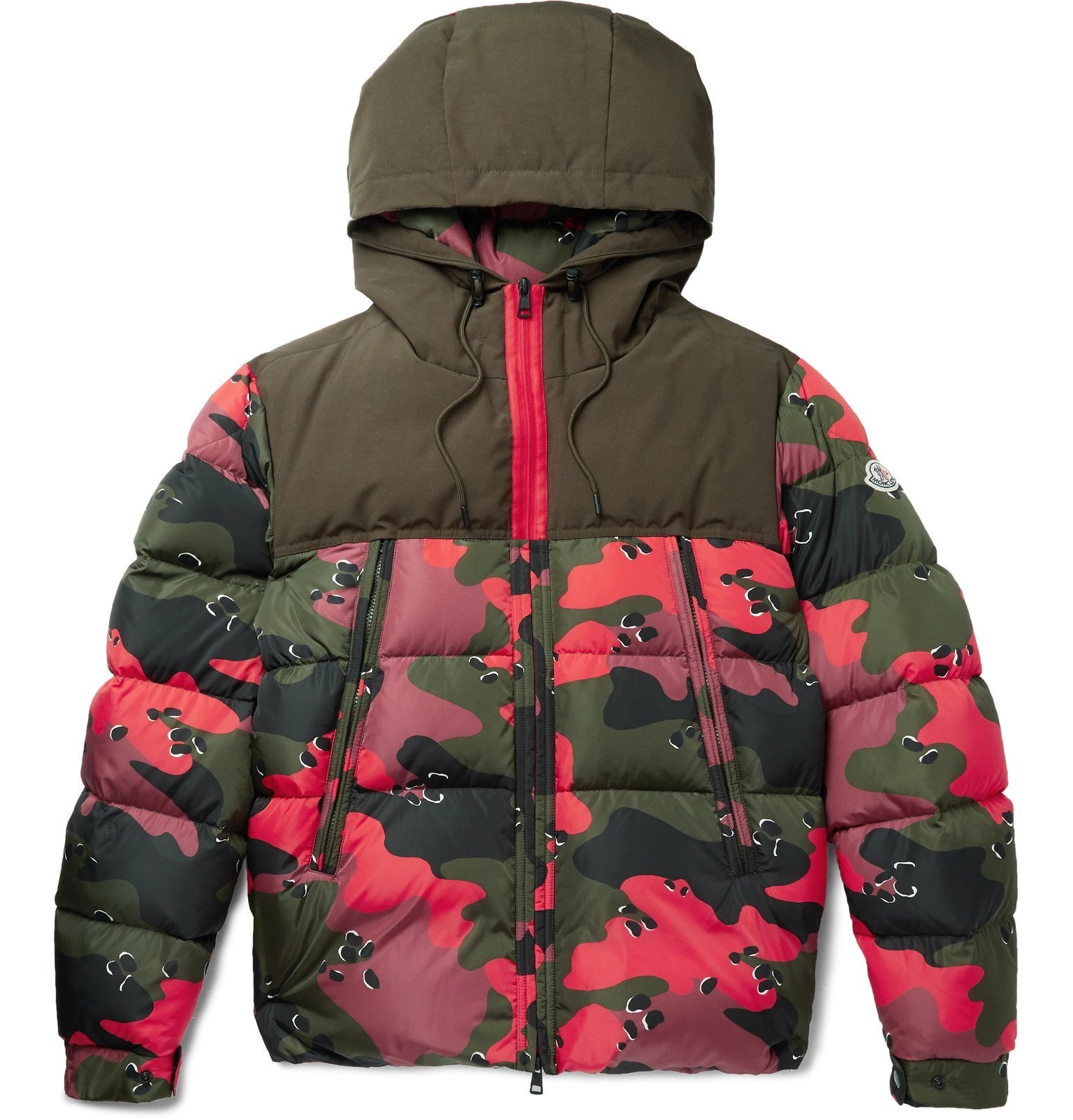 Photo: Moncler - Quilted Camouflage-Print Shell Hooded Down Jacket - Red