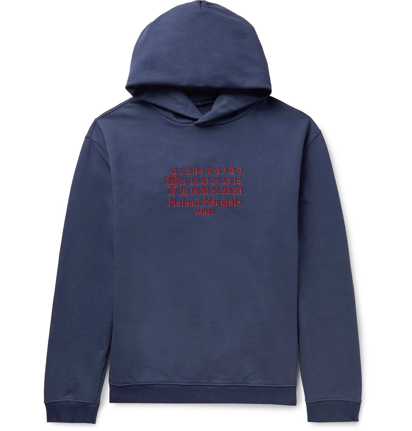 Photo: MAISON MARGIELA - Oversized Logo-Embroidered Loopback Cotton-Jersey Hoodie - Blue