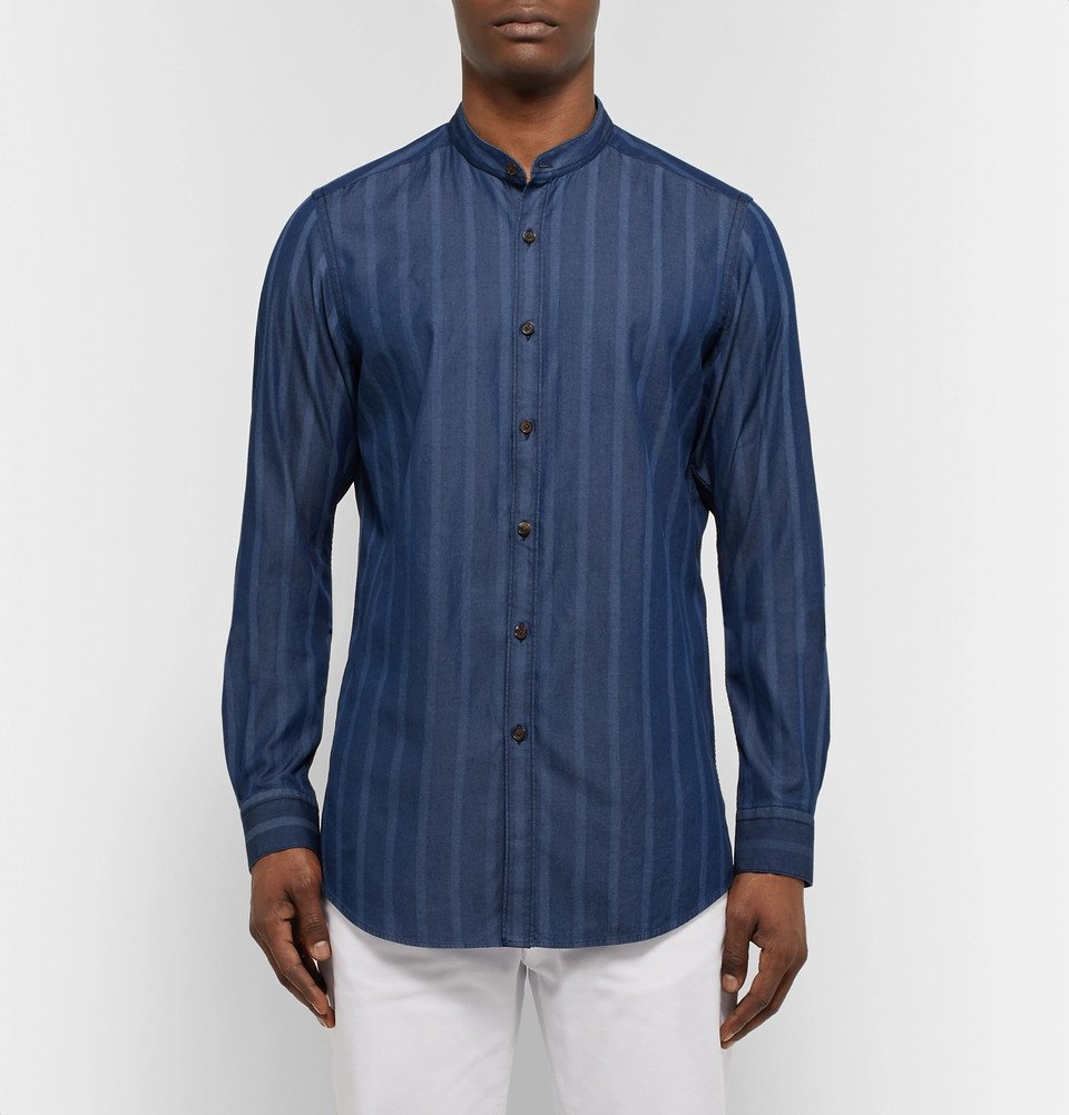 Tod's - Grandad-Collar Striped Cotton-Chambray Shirt - Men - Storm blue