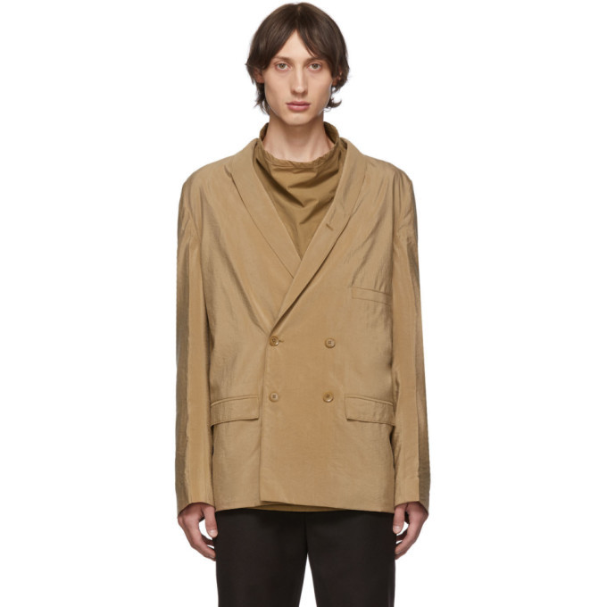 Photo: Lemaire Tan Dry Silk Double-Breasted Blazer