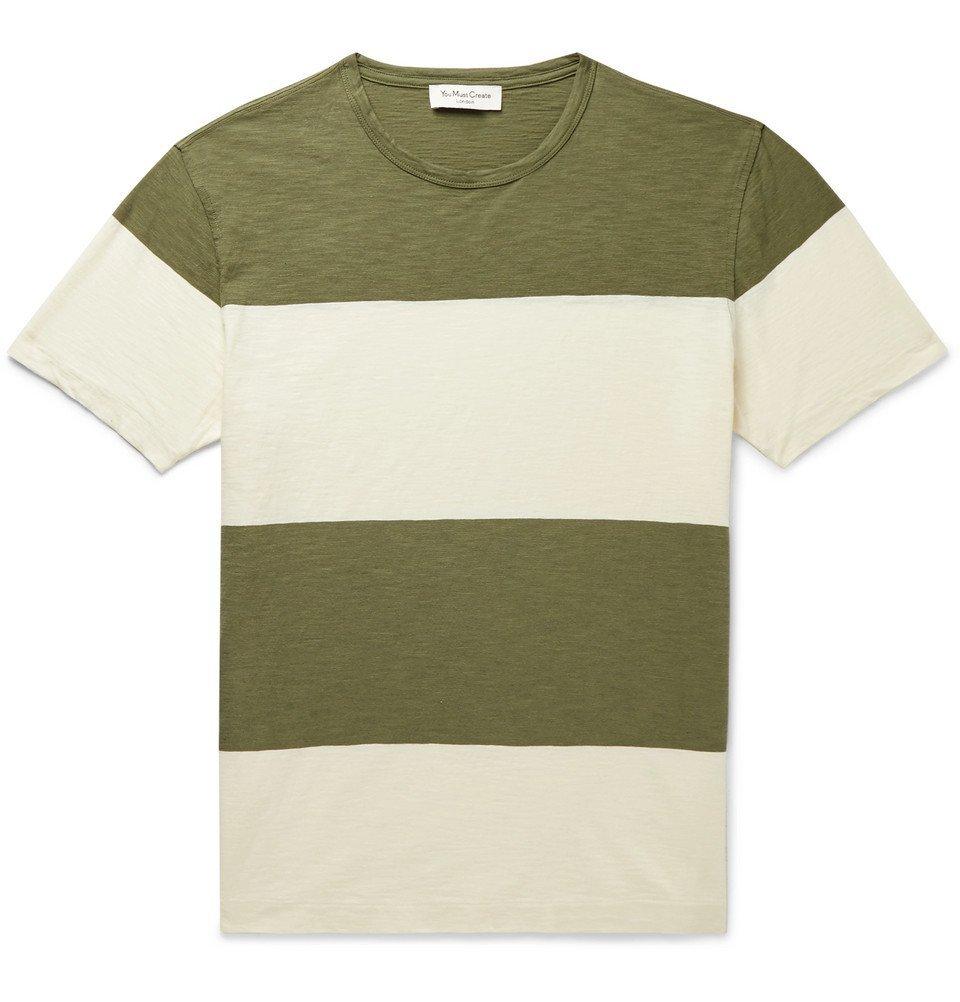 Photo: YMC - Striped Slub Cotton-Jersey T-Shirt - Army green