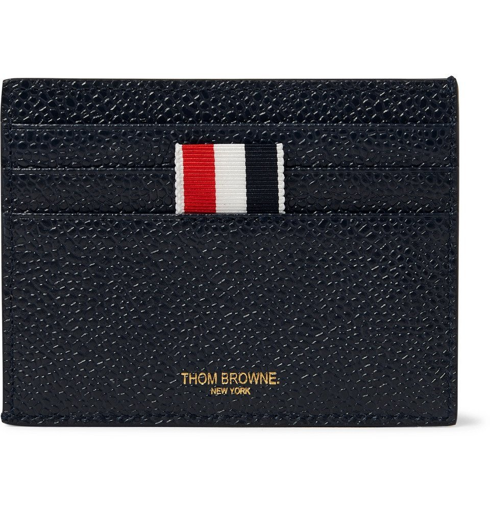 Photo: Thom Browne - Striped Grosgrain-Trimmed Pebble-Grain Leather Cardholder - Navy