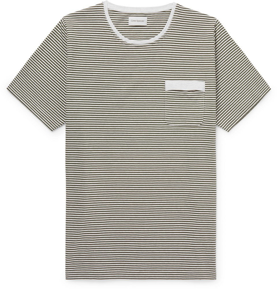 Photo: Oliver Spencer - Danbury Striped Cotton-Jersey T-Shirt - Green