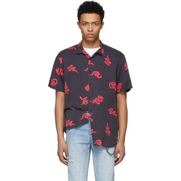 Ksubi Black and Red Neon Snake Shirt