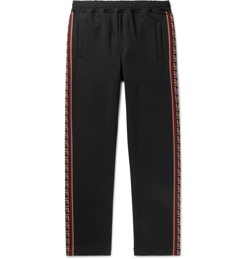 Photo: Fendi - Logo Jacquard-Trimmed Tech-Jersey Sweatpants - Black