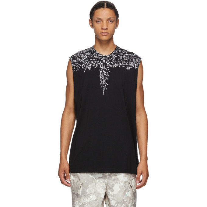 Photo: Marcelo Burlon County of Milan Black Sketch Wings Sleeveless T-Shirt
