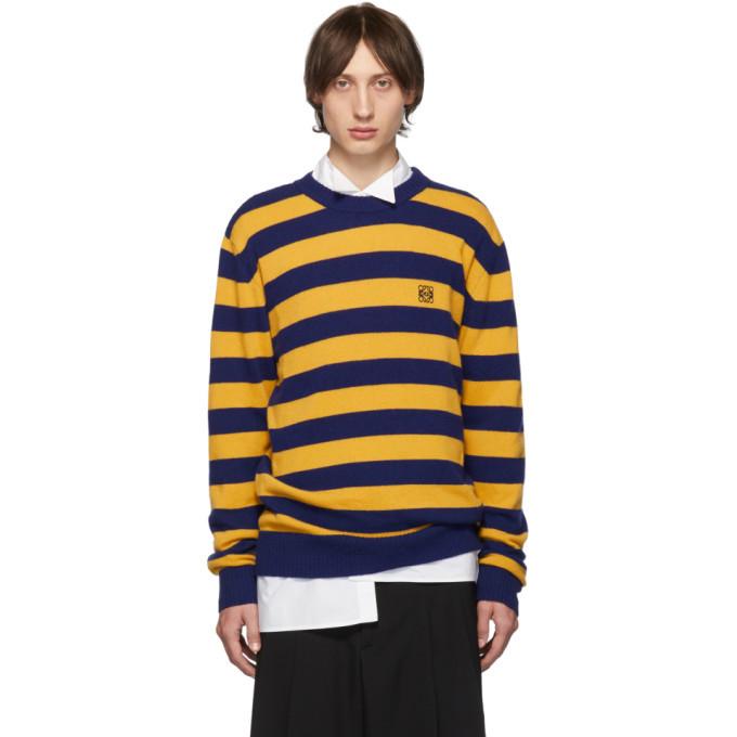 Photo: Loewe Navy and Yellow Cashmere Stripe Sweater