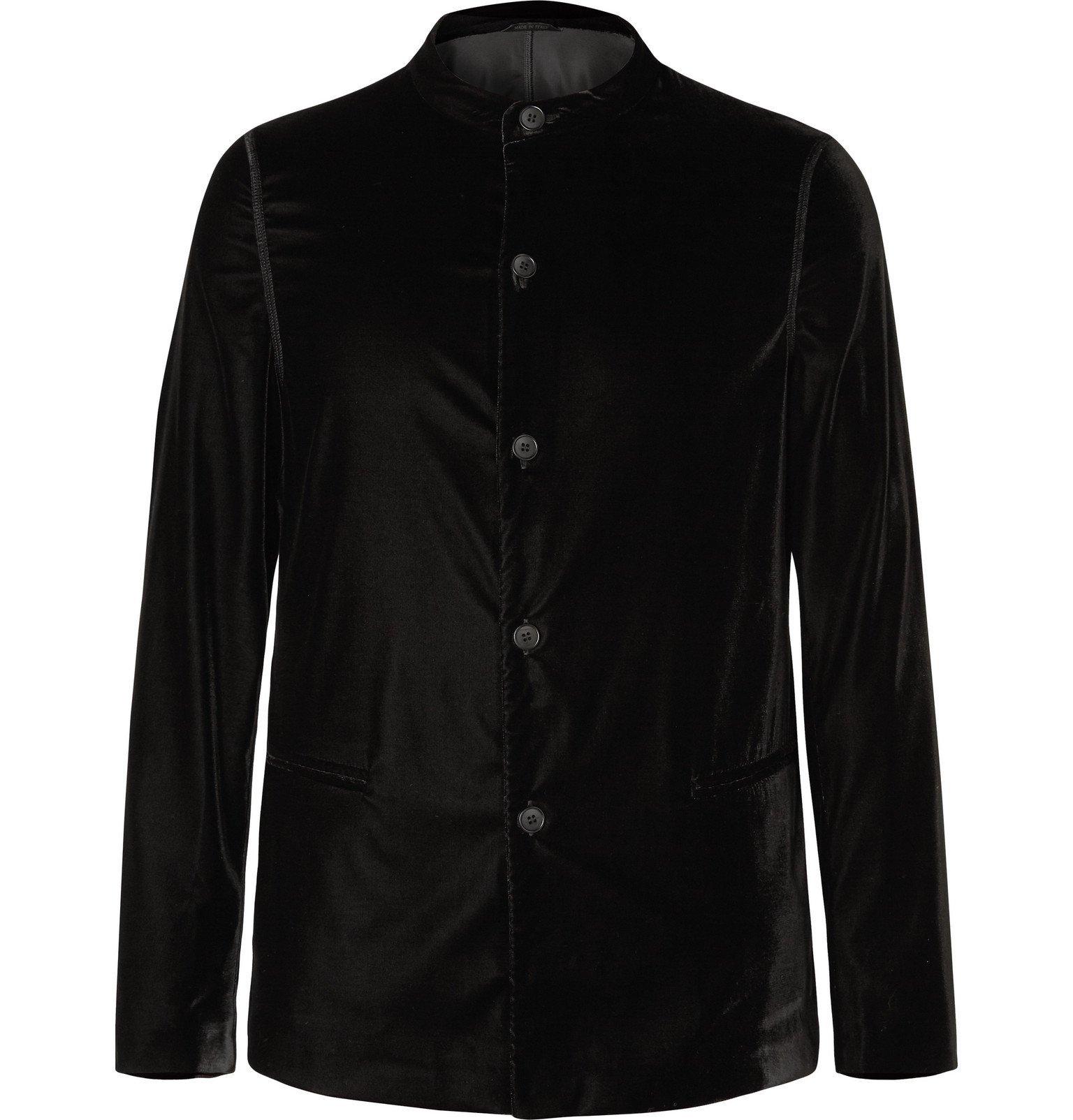 Photo: Giorgio Armani - Black Slim-Fit Velvet Tuxedo Jacket - Black