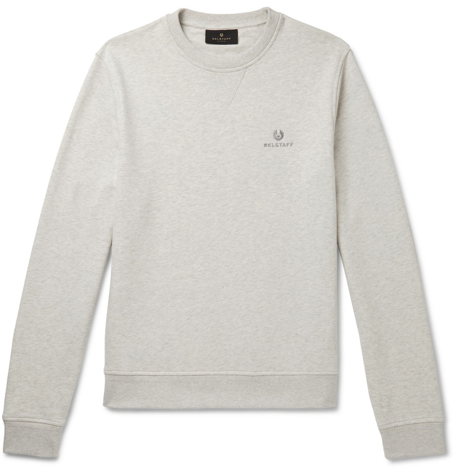 Photo: Belstaff - Logo-Embroidered Loopback Cotton-Jersey Sweatshirt - Gray