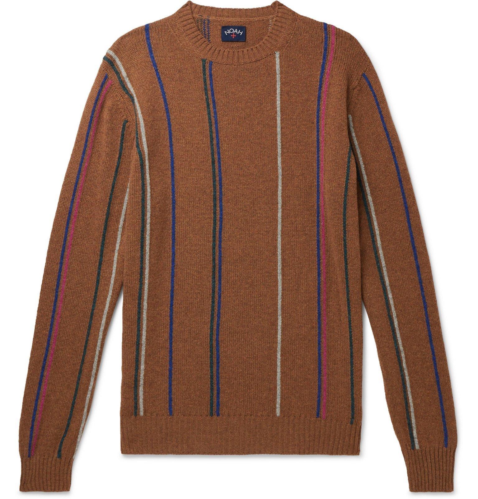 Photo: Noah - Striped Wool Sweater - Brown