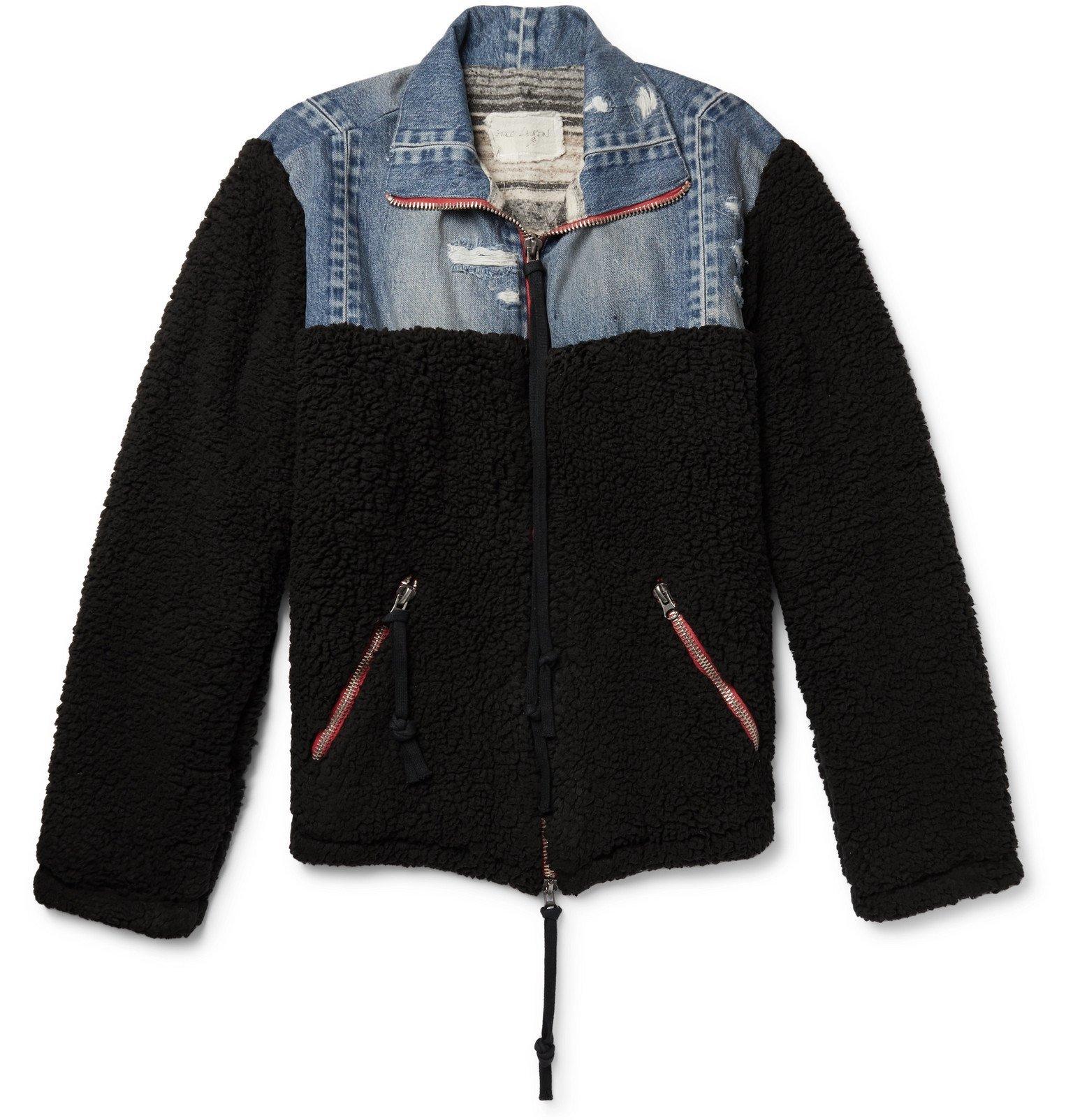 Photo: Greg Lauren - Panelled Distressed Denim and Fleece Jacket - Black