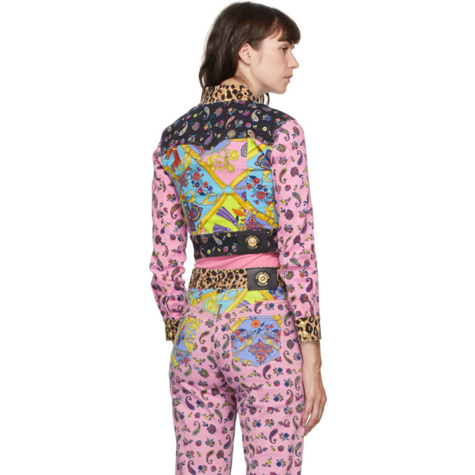 Versace Jeans Couture Multicolor Denim Mix Print Jacket
