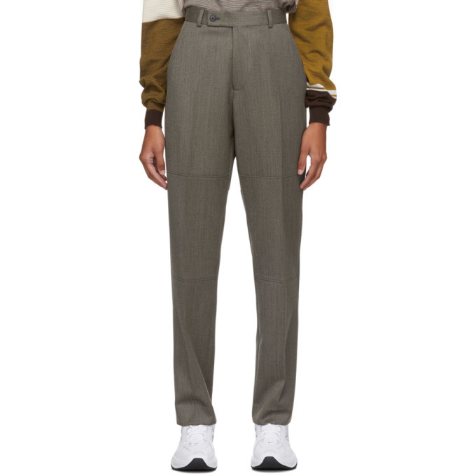 Martine Rose Brown Wool Panelled Tailored Trousers
