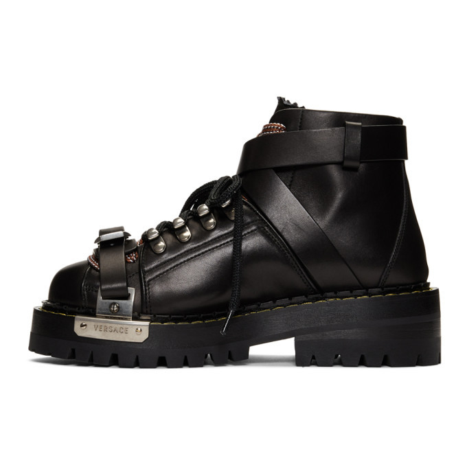 Versace Black Harness Combat Boots