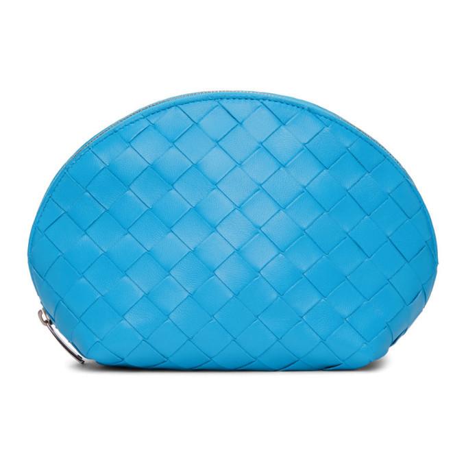 Photo: Bottega Veneta Blue Intrecciato Cosmetic Pouch