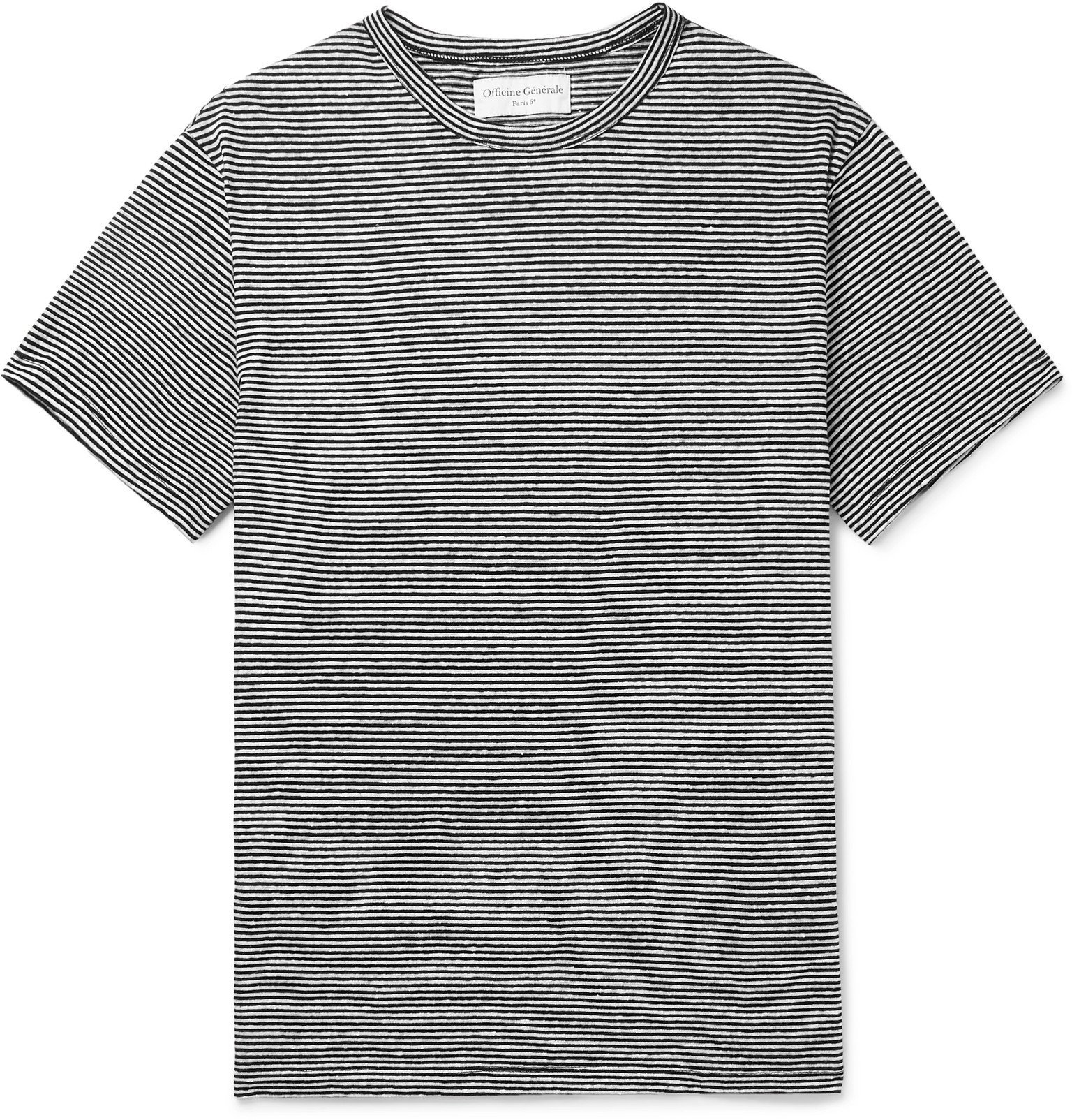 Photo: Officine Generale - Striped Cotton-Jersey T-Shirt - White