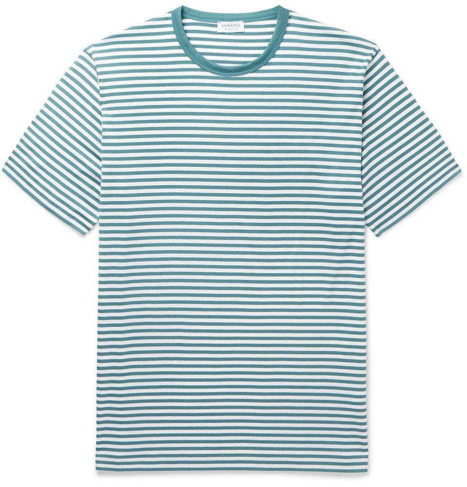 Photo: Sunspel - Striped Cotton-Jersey T-Shirt - Teal