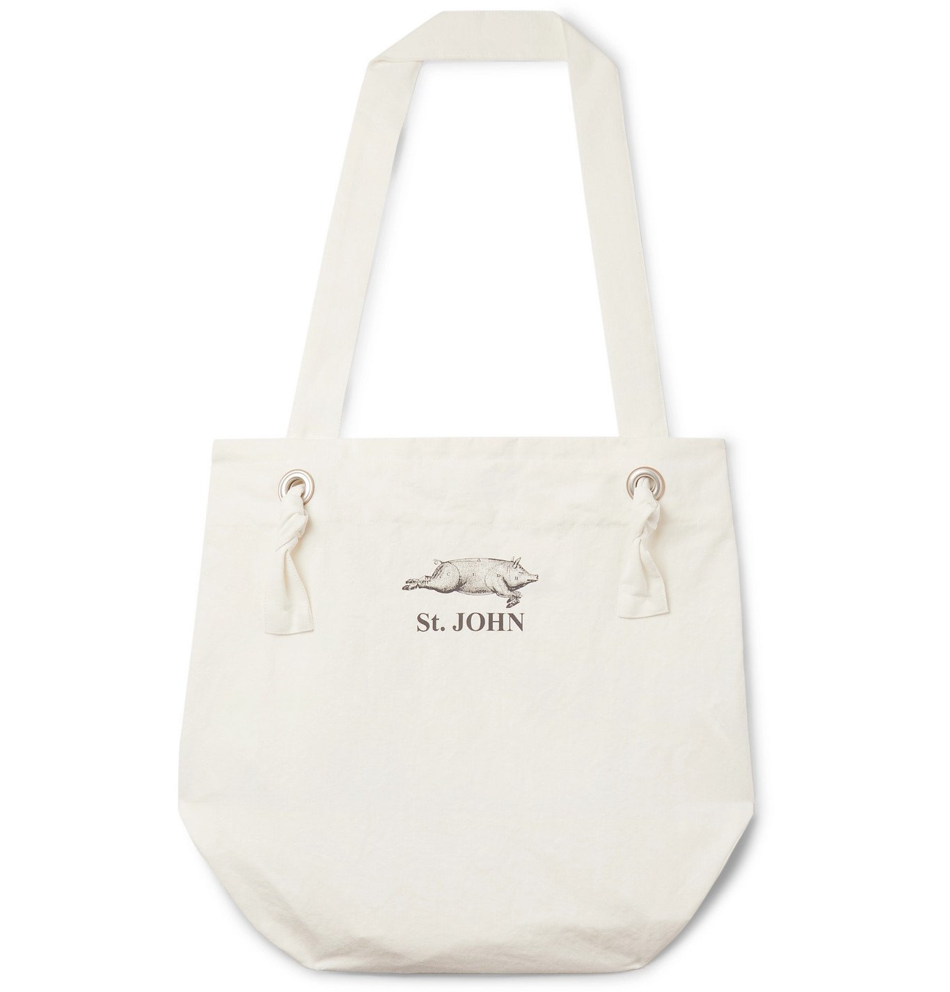 Photo: Junya Watanabe - Printed Cotton and Linen-Blend Canvas Tote Bag - White