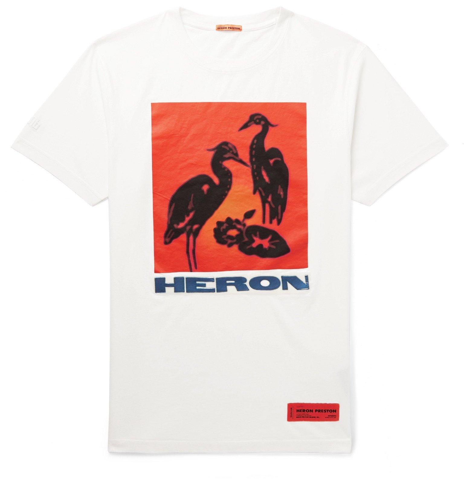 Photo: Heron Preston - Logo-Appliquéd Printed Cotton-Jersey T-Shirt - Neutrals