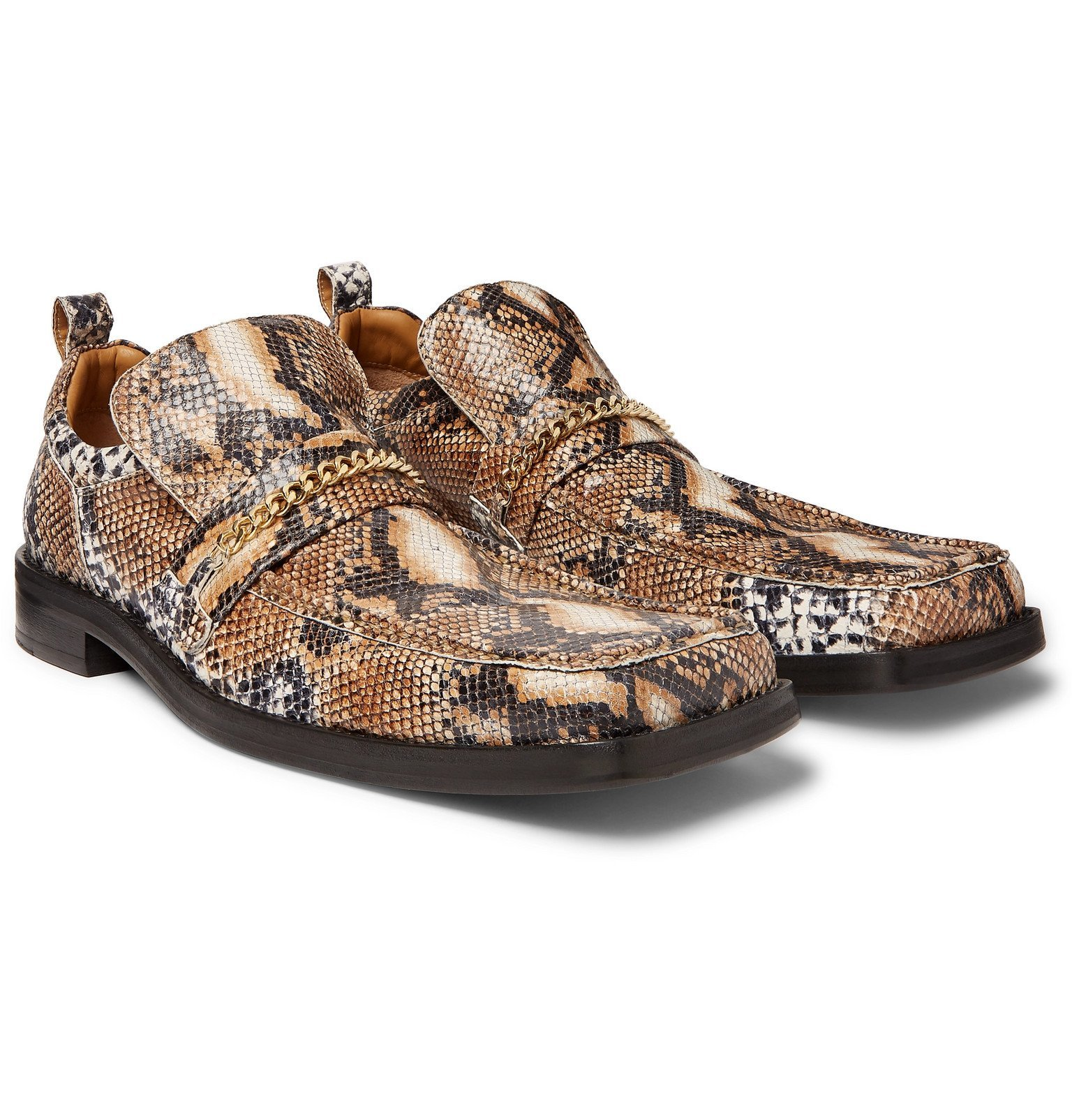 Photo: Martine Rose - Chain-Trimmed Snake-Effect Leather Loafers - Brown
