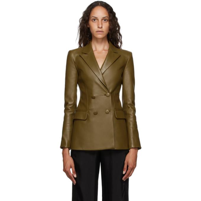 Photo: Off-White Khaki Leather Double Breasted Jacket