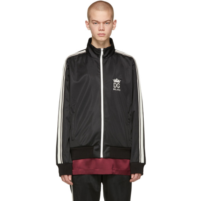 Photo: Dolce and Gabbana Black Crown Zip-Up Jacket