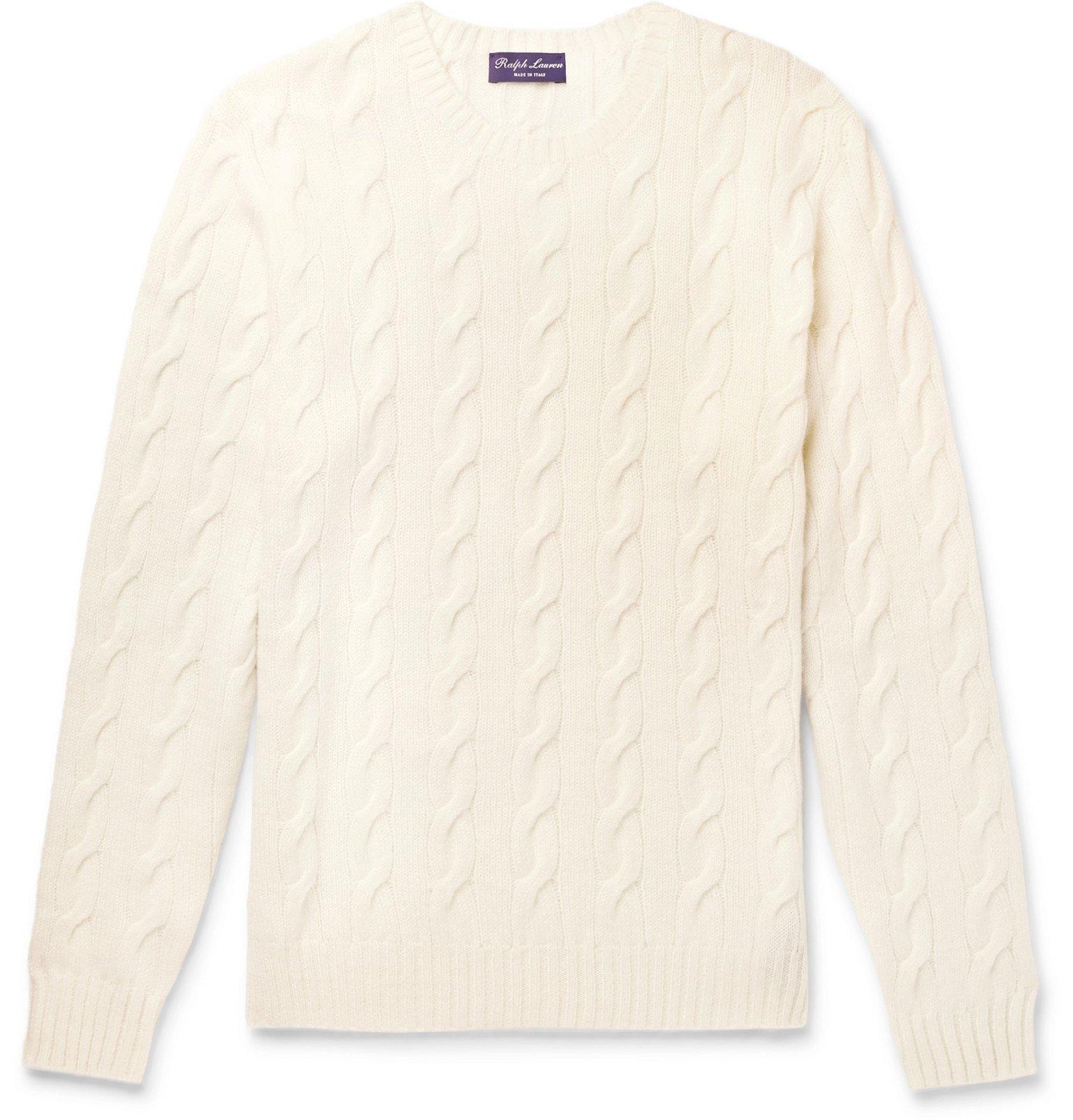 Photo: Ralph Lauren Purple Label - Cable-Knit Cashmere Sweater - Neutrals