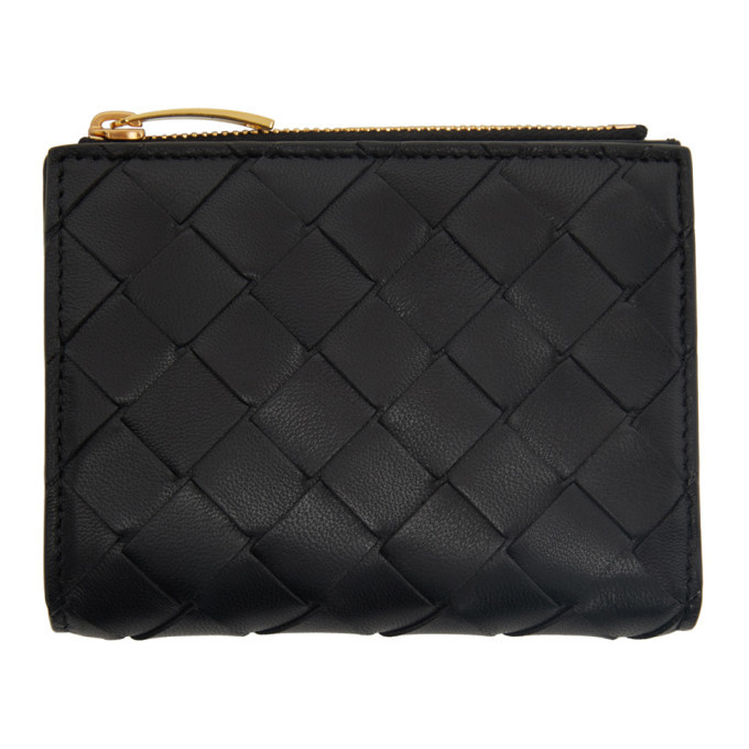 Photo: Bottega Veneta Black Intrecciato Zip Bifold Wallet