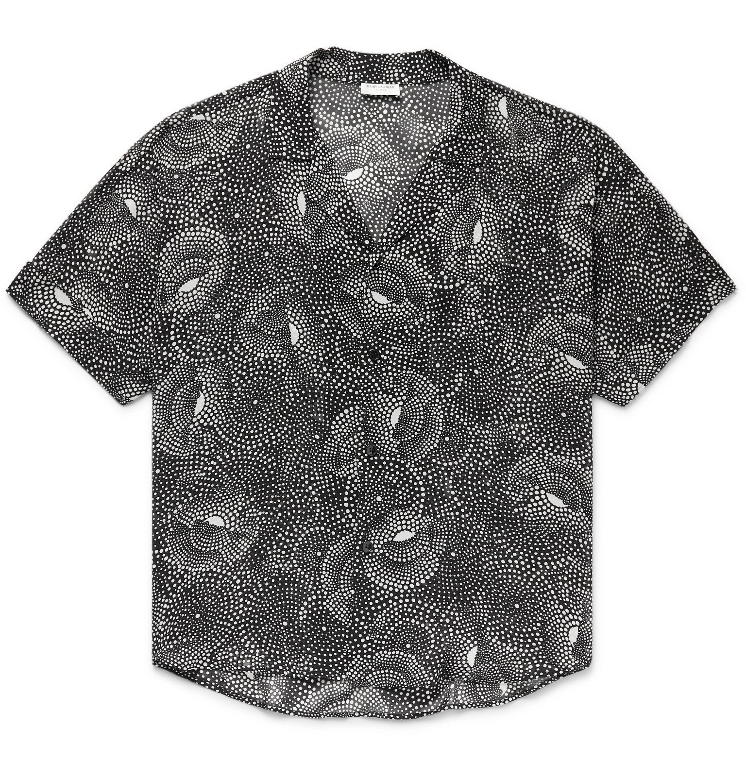 Photo: SAINT LAURENT - Camp-Collar Printed Crepe de Chine Shirt - Black