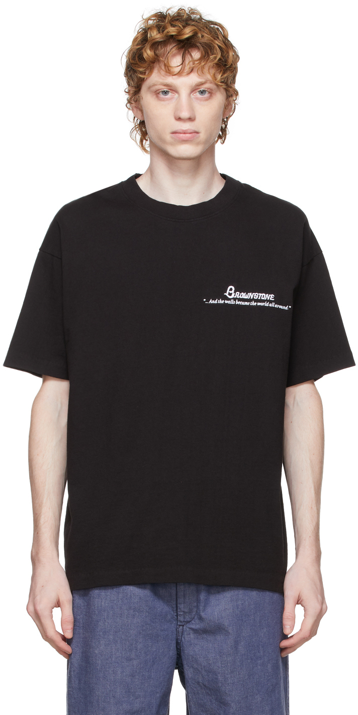 Photo: Brownstone Black Embroidered Cut & Sew Readymade T-Shirt