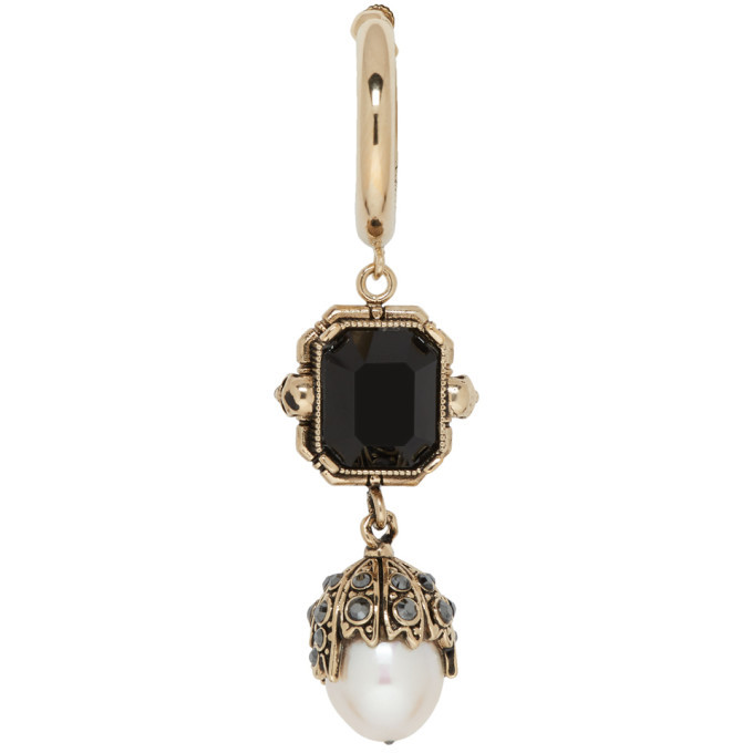Photo: Alexander McQueen Gold Square Pendant Pearl Earring