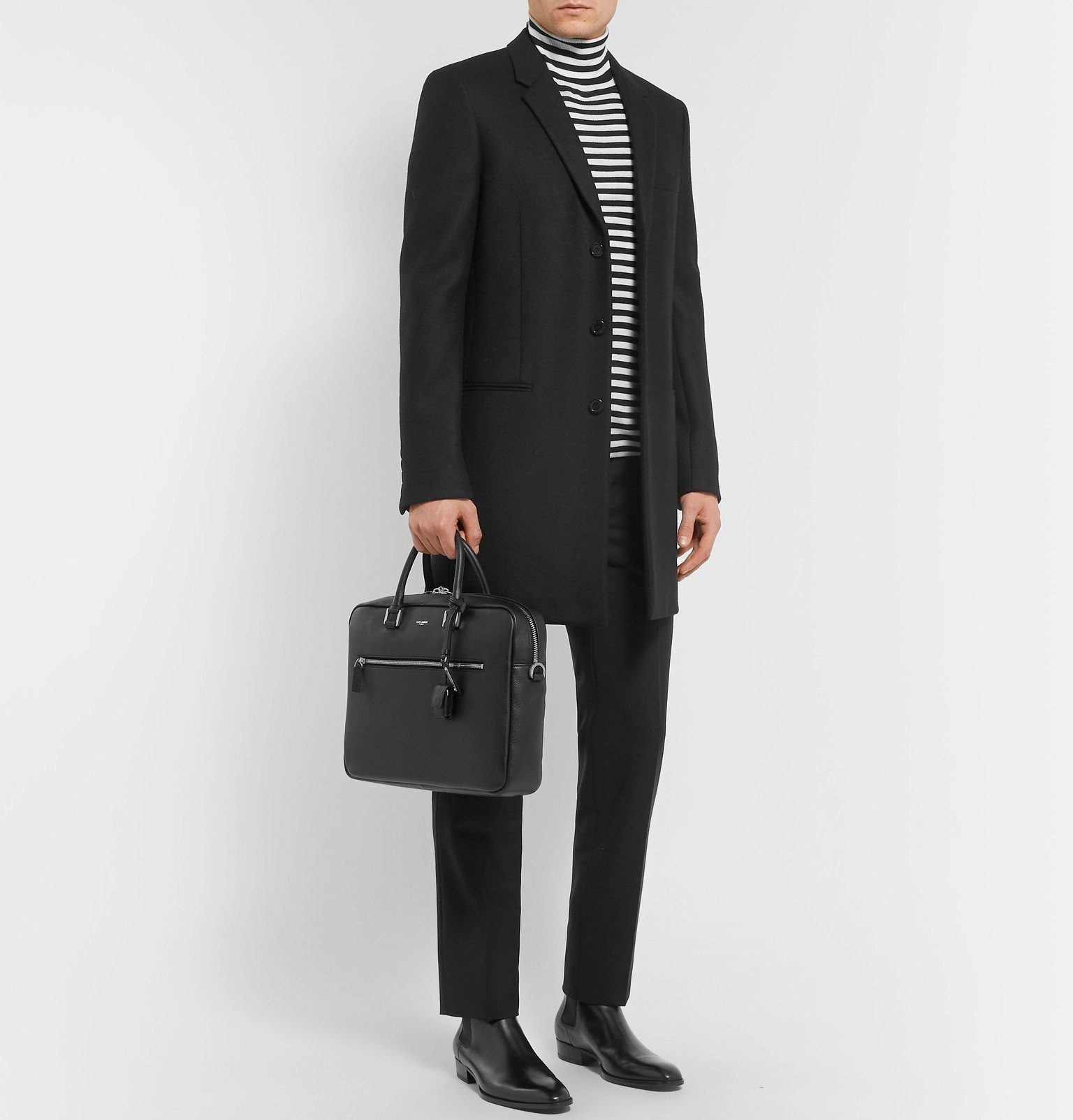 SAINT LAURENT - Full-Grain Leather Briefcase - Black