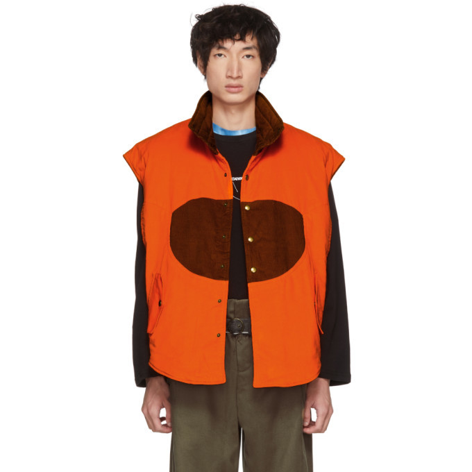 Photo: St-Henri SSENSE Exclusive Orange and Tan Corduroy Hunting Vest
