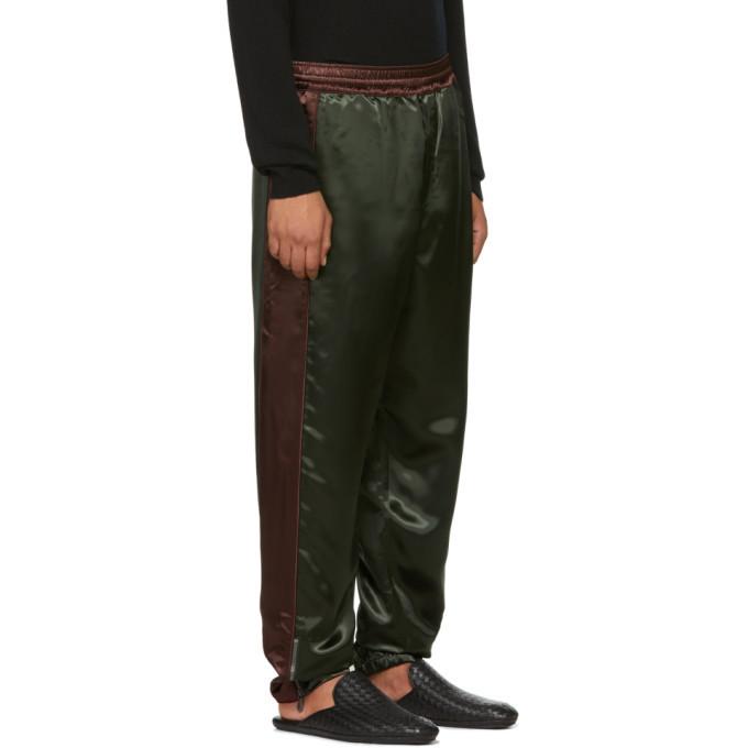 Bottega Veneta Green and Burgundy Heavy Shiny Lounge Pants