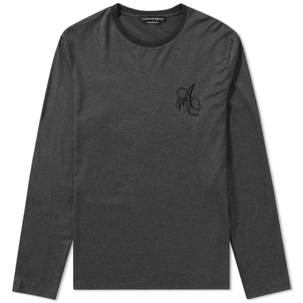 Photo: Alexander McQueen Long Sleeve Embroidered Logo Tee Grey