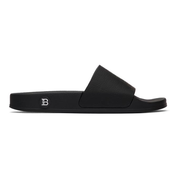 Photo: Balmain Black Logo Calypso Slides