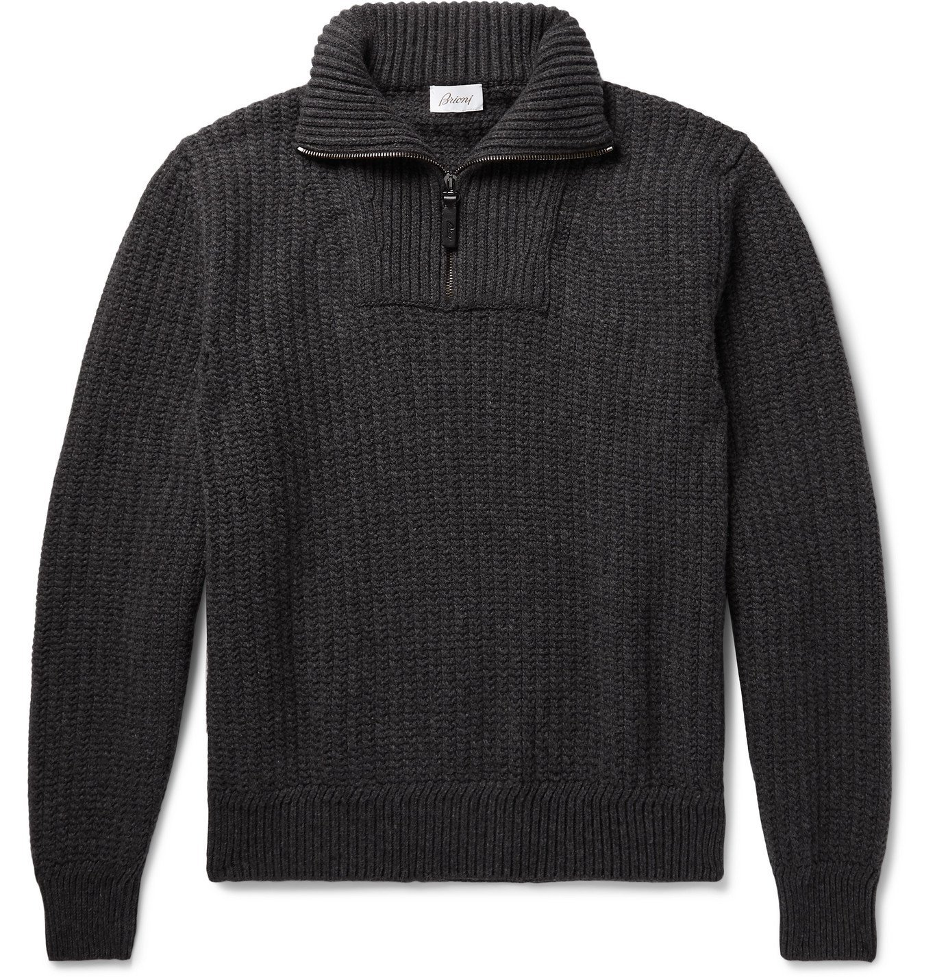Photo: Brioni - Ribbed Wool and Cashmere-Blend Half-Zip Sweater - Gray