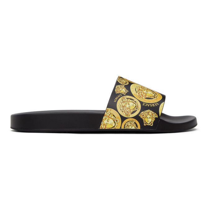 Photo: Versace Black Medusa Amplified Print Slides